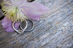 Close-up photograph of Hazelz engagement and wedding rings