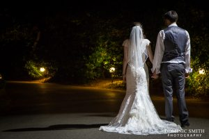 Hazel and Rob photographed at Stanhill Court Hotel at night