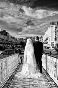 Bridal photo taken at the Bandstand on Brighton Seafront