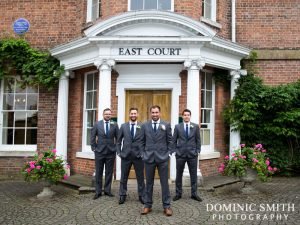 Andrew with his Groomsmen outside East Court