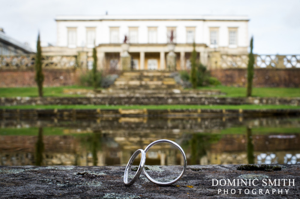 Photo of the wedding rings taken at Buxted Park Hotel