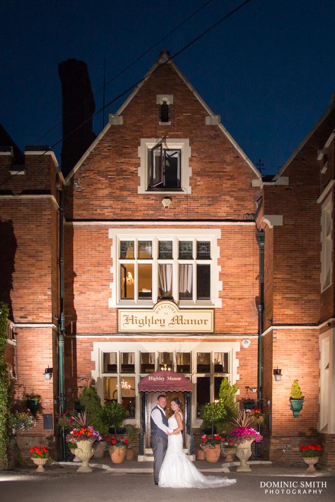 Night time wedding portrait taken at Highley Manor 2