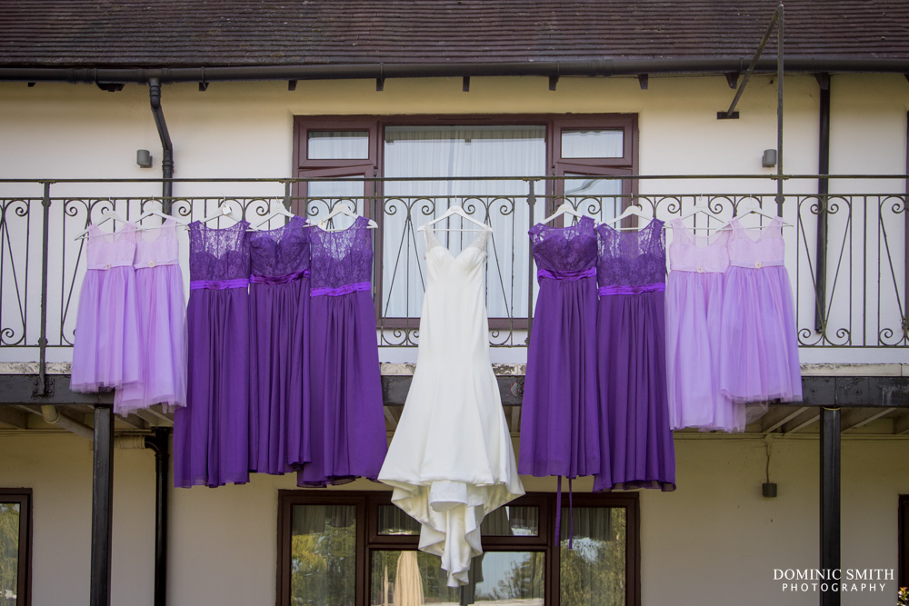 Bridal Party dresses hanging at Crowne Plaza Felbridge