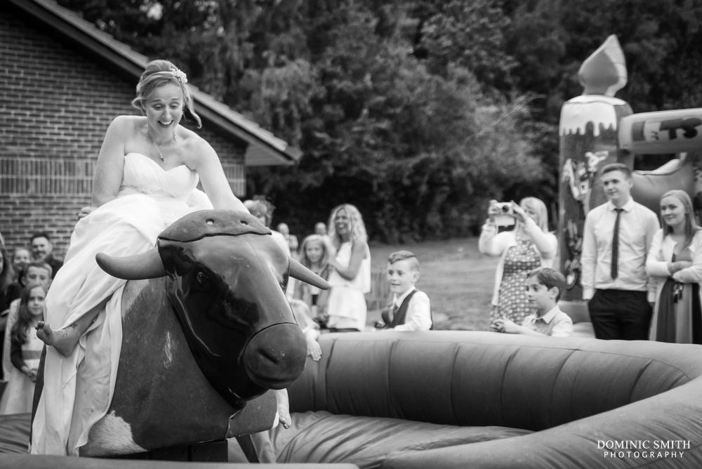 Bride riding a Bucking Bronco
