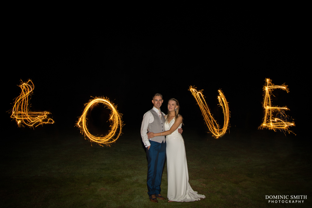 LOVE Sparkler Photo at Brookfield Barn