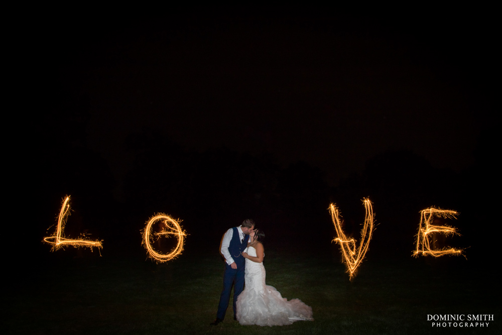 LOVE Sparkler Photo at Hookhouse Farm