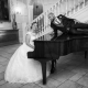 Bride Playing Piano at Alexander House