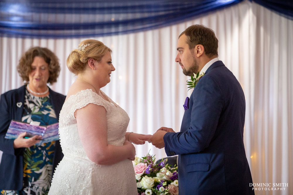 Exchanging rings at Hickstead Hotel