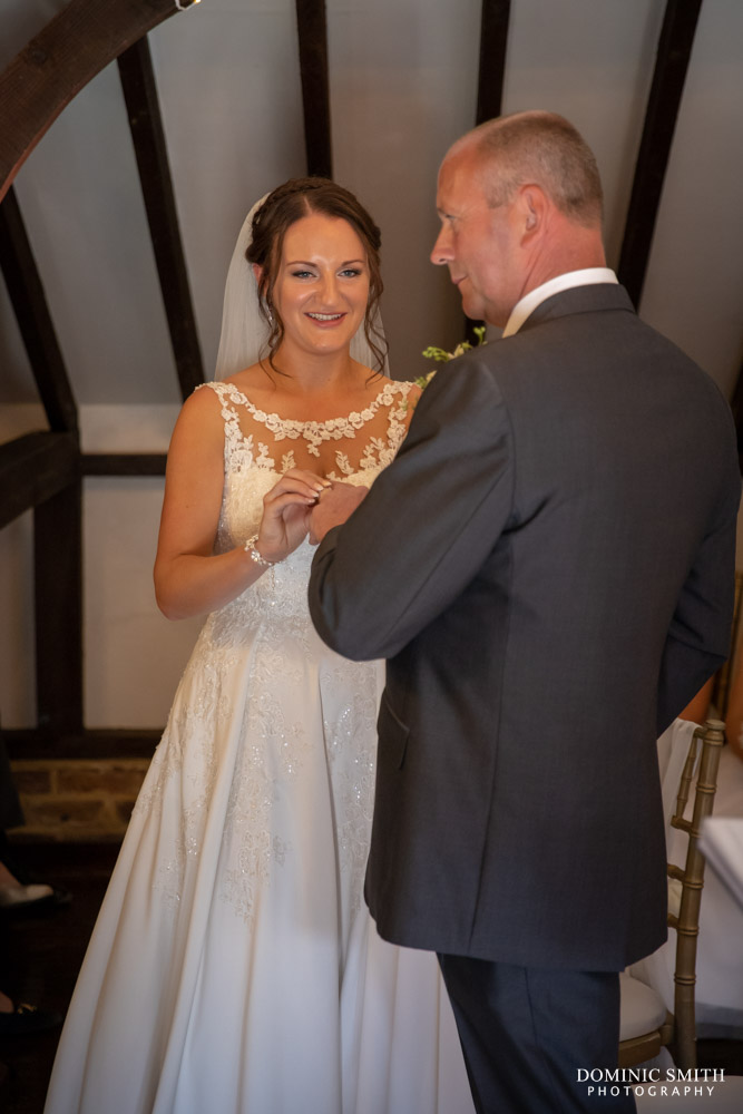 Exchanging rings at Blackstock Country Estate