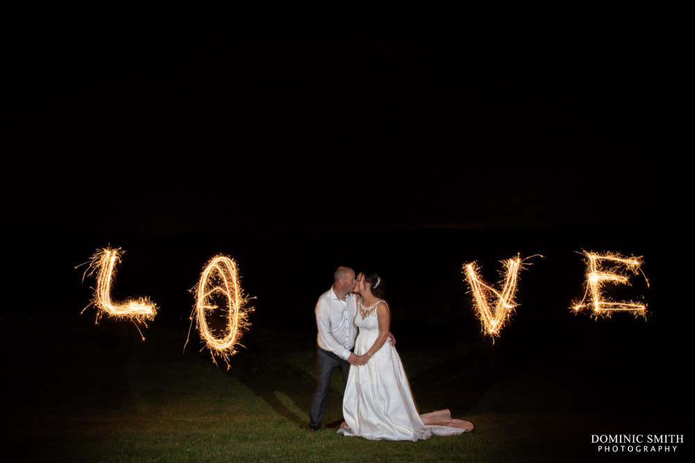LOVE Sparkler Photo at Blackstock Country Estate