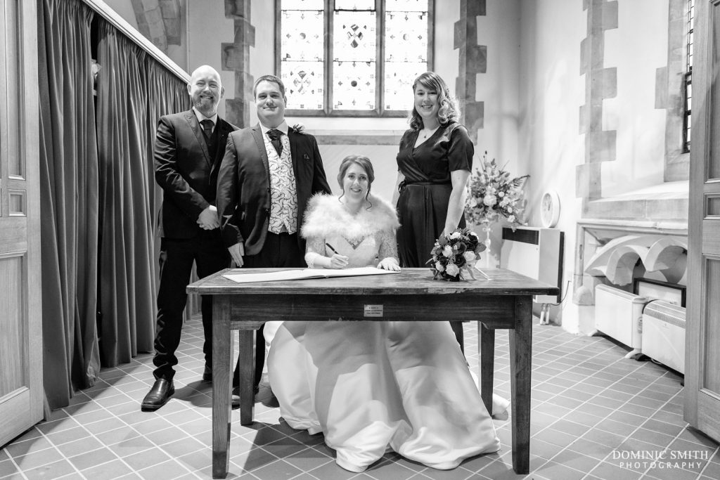 Signing the Register at St Michaels Church, Betchworth