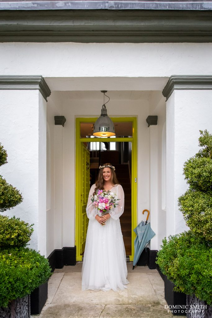 Bride outside the manor at Pangdean Barn 1