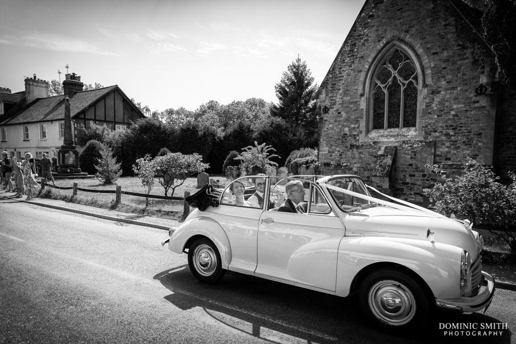 Morris Minor Wedding Car at St Mary Magdalene C of E Church in Rusper